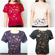 Ex Dorothy Perkins Ladies Burnout Tee Top Red, Black, Peach, Purple Size 8 - 22