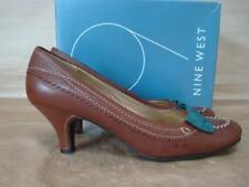 NINE WEST UK 4 ATOM2 BROWN COURT SHOES WITH GREEN RIBBON BOW BOXED