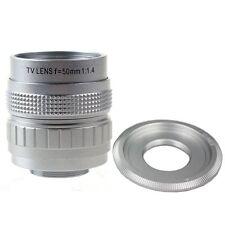 Silver 50mm F1.4 CCTV TV Movie lens+C Mount to Sony Nex-5T N6 N7 5R A6000 A5100