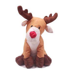 Vtg Reindeer Puffy Parachute Fabric Christmas Plush Stuffed Rudolph Four Star