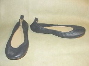 Talbots Women's size 108.5 Navy Blue Leather Classic Bow Ballet Flats Shoes