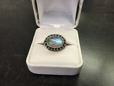 STERLING SILVER MOONSTONE CABOCHON RING SIGNED W/BOX BEAUTIFUL COLOR 8.0