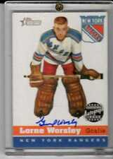 Lorne Worsley 2001 Topps Heritage On Card Autograph #HA-LW RANGERS