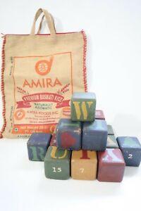 "Vintage Wolf Creek Set of 16 All Seasons Wooden Blocks 1987 2¾"" Square USA & Bag"