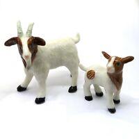 Country Farm Ceramic White Goat Family Figurine Collectible Miniature Set of 2