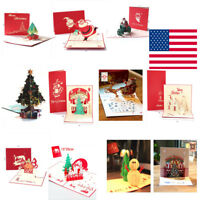 3D Pop Up Card Merry Christmas Style Holiday Greeting Creative New Hot Cards