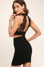 Sexy BLACK LACE TWO-PIECE DRESS LULUS open back Dress, club, cocktail, party,