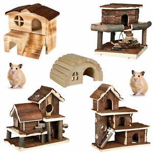 Pet Ting Hamster House Wood - Natural Wooden Hamster Mice Gerbil Play Houses