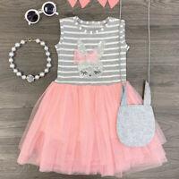 Toddler Baby Kids Girls Stripe Rabbit Patchwork Skirt Princess Dress Clothes AU
