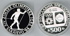 1984 Yugoslavia Large silver Olympic 500 D Ski ,PROOF