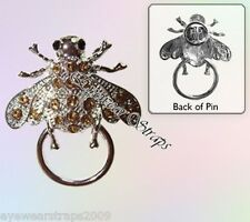 NEW Eye Glasses / Spectacle Hanger Amber Rhinestone Bee Brooch / Pin Holder