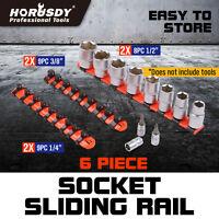 6 Industrial ABS Mountable Socket Sliding Rail Rack Holder Organizer 1/4 3/8 1/2