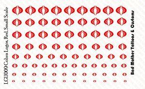 GI Joe Red Cobra Logo Waterslide Decals 1/18 scale action figures Various Sizes