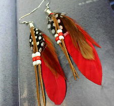 New Fashion Women Handmade Jewelry Hook Drop Dangle Goose Feather Earrings Party