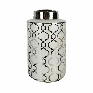 Shabby Chic Contemporary Silver Ginger Jar Home Decor