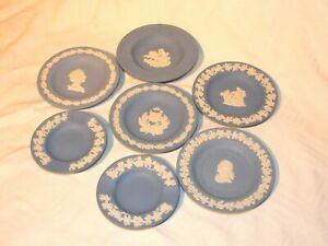 COLLECTION JOB LOT OF 7 WEDGWOOD BLUE JASPER WARE PIECES PIN DISH