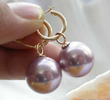 Huge round AAA+ 16mm South Sea Shell Purple Pearl Earrings 14K Gold