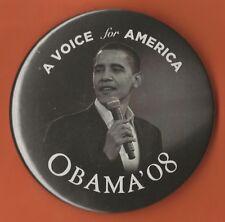 "2008 Barack Obama 3"" / ""Voice for America"" Presidential Campaign Button(Pin 08)"