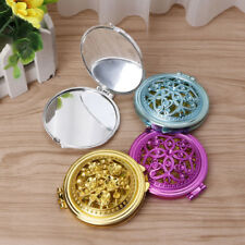 Hollow Outside Portable Mini Pocket Makeup Mirror Double-Folded Side Vintage