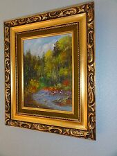 """1980's Oil Painting 9""""x12"""" Signed Original w/ Palette Knife Lillian Breshears"""