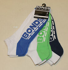 Bonds Logo Mens White Low Cut Sports Socks 3 Pair Pack 17K Size 6 - 10 New