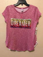 NWT Total Girl Girls Plus Large 14 1/2 16 1/2 Pink Sparkle Sequin Ombre Shirt