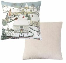 """FILLED EVANS LICHFIELD CHRISTMAS SNOWY VILLAGE RED WHITE MADE IN UK CUSHION 17"""""""