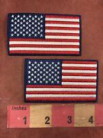 Lot Of 2 USA FLAG Patch Lot - Blue Border American Flag Patriotism C009