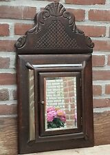 Antique Handmade Wood / Brass Wall Hanging Cabinet Mirror & Brushes 1900-1920th