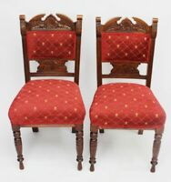 Pair of Vintage Carved Beech Dining Chairs - FREE Shipping [5339 C]