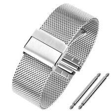 Edelstahl 12. 14. 16. 18. 20. 22. mm Mesh-Uhrenarmband Milanaise Silbern Metall