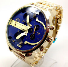 399b Men's New Mr Daddy Wrist Watch Gold Band Big Blue Chunky Multi time Dials