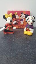 Disney Mickey Minnie Holiday Salt & Pepper Shakers Hand Painted Glazed Ceramic