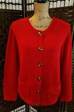 VINTAGE TALBOTS LADIES CARDIGAN SWEATER PLUS SIZE 1X RED CASUAL OFFICE