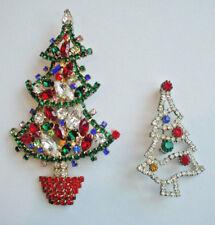 "Pair of Vintage Rhinestone Christmas Tree Pin Brooch 4.25"" & 2.38"" Long"