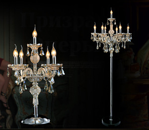 Genuine K9 Crystal Chandelier Floor Lamp/Table Lamp Champagne Colour 5, 7 Lights