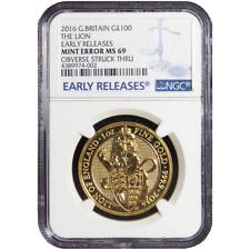 2016 UK 100 Pound 1 oz Gold Queen's Beast Lion NGC MS69 ER Obv Struck Thru Error