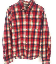 Abercrombie & Fitch Men Medium M button down collared shirt plaid red muscle fit