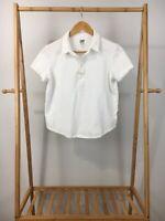 ZADY Women's White Polo Short Sleeve Shirt Top Size S