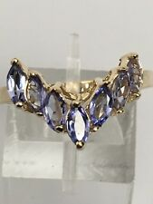 14K Yellow Gold Tanzanite Band Ring Natural Marquise Shape Seven Stone Size 9