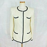 Armani Collezioni Womens Ivory w/D Blue Trim Viscose,Cotton,Silk Blazer Jacket 6