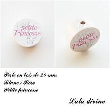 Perle en bois de 20 mm, Perle plate, Petite princesse, Couronne : Blanc / Rose