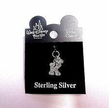 NEW Walt Disney World Sterling Silver Crystal MICKEY MOUSE & Letter K Charm