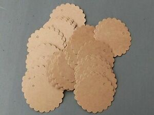 100 Blank Brown Kraft Paper Hang Tags Price Gift Cards Flower 60mm Wedding Party