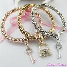 3pce Three Tone Rhinestone Lock & Keys Charm Stretch Popcorn Chain Bracelet Set