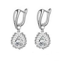 High Quality Lady Luxury Jewelry White Zircon Gemstone Hook Silver Earrings