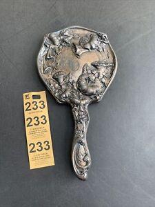 Antique Vintage Silver Toned Floral Pattern Hand Held Mirror Monogram Engraved R