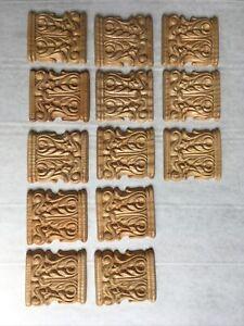 Holz Zierteile Eiche 13 Stück 7 x 6,5cm tadellos