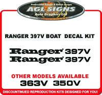 RANGER 397V BOAT DECALS ONE PAIR , reproduction 350V  363V 361V