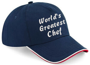 Embroidered World's Greatest...... Navy/Red/White Piped Baseball Cap, Ideal Gift